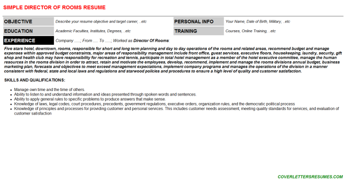 Director Of Rooms Resume Template