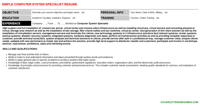 Computer System Specialist Resume Template (#33736)