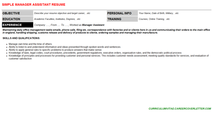 Manager Assistant Resume Template (#114736)