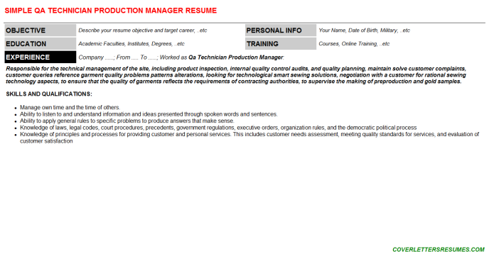 Qa Technician Production Manager Resume Template (#32736)