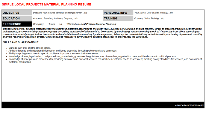 Local Projects Material Planning Resume Template (#30737)