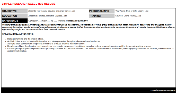 Research Executive Resume Template (#18737)