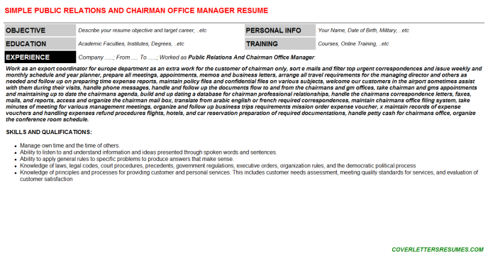 Public Relations And Chairman Office Manager Resume Template