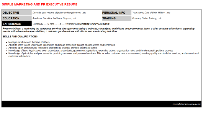 Marketing And Pr Executive Resume Template (#23)