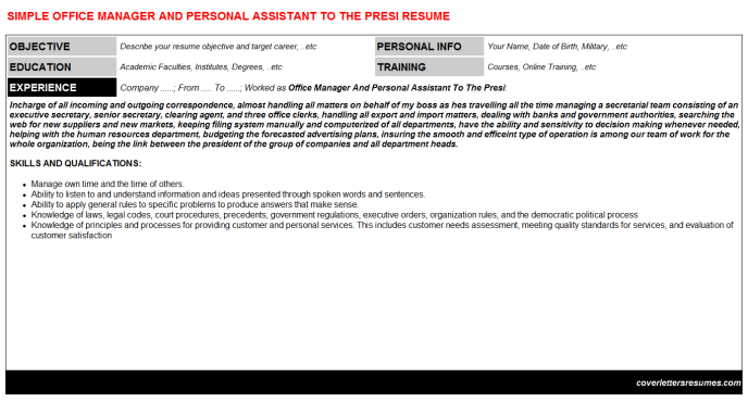 Office Manager And Personal Assistant To The Presi Resume Template