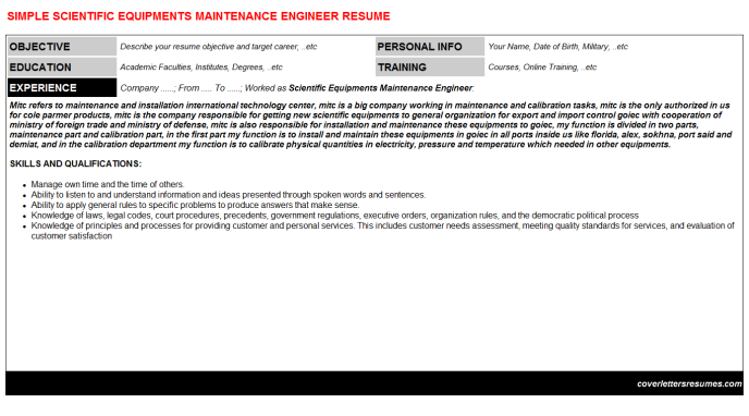 Scientific Equipments Maintenance Engineer Resume Template
