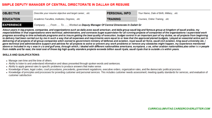 Deputy Manager Of Central Directorate In Dallah Gr Resume Template (#74741)