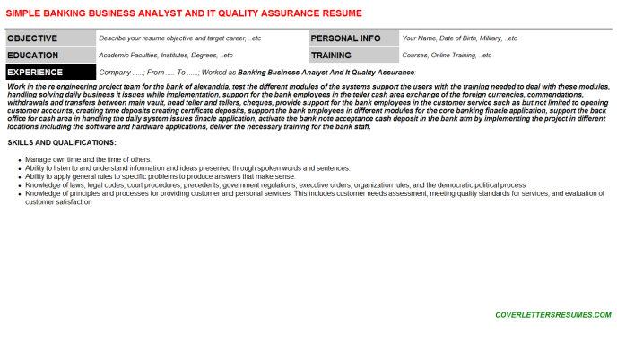 Banking Business Analyst And IT Quality Assurance CV Cover ...