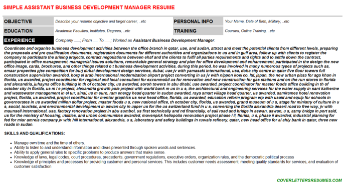 Assistant Business Development Manager Resume Template (#66243)