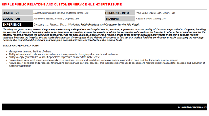 Public Relations And Customer Service Nile Hospit Resume Template
