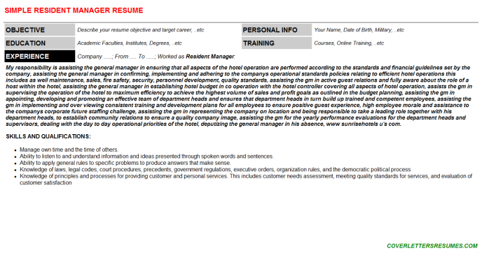 Resident Manager Resume Template (#4245)