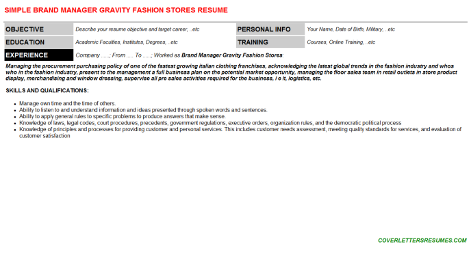 Brand Manager Gravity Fashion Stores Resume Template (#120746)