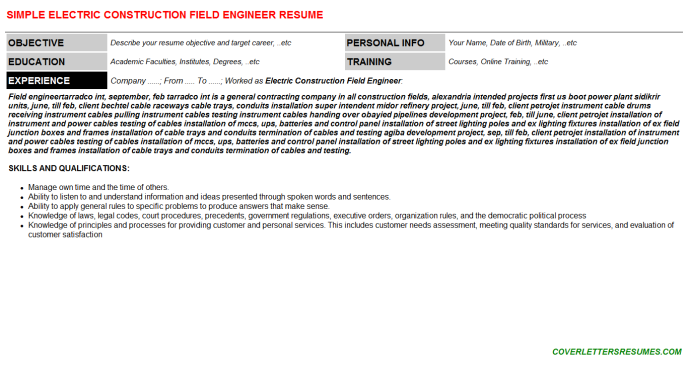 Electric Construction Field Engineer CV Cover Letter ...