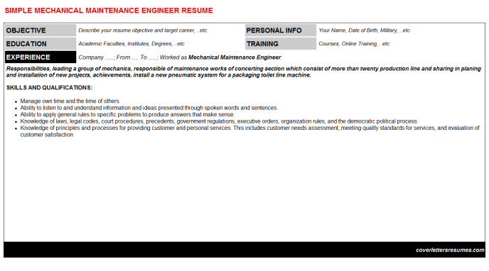 Mechanical Maintenance Engineer CV Cover Letter & Resume ...