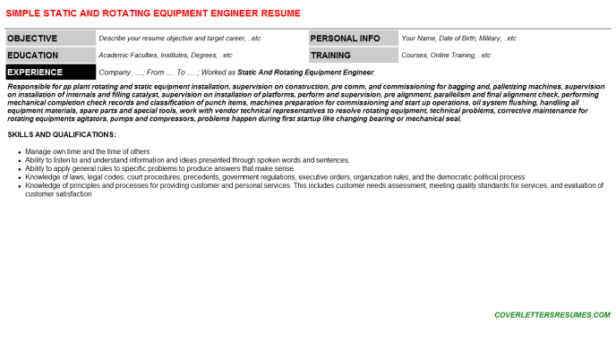 Static And Rotating Equipment Engineer Job Letter & Resume ...