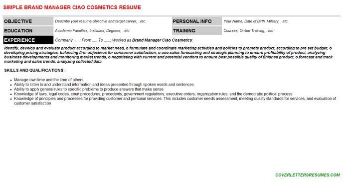 Brand Manager Ciao Cosmetics Resume Template