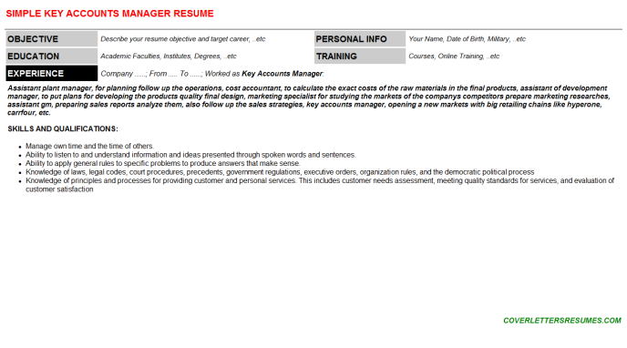 Key Accounts Manager Resume Template