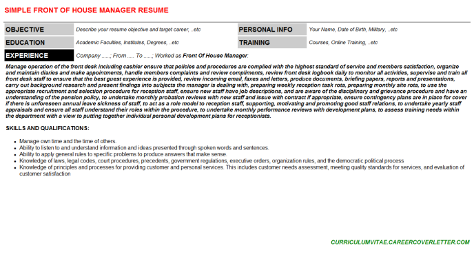 Front Of House Manager Resume Template