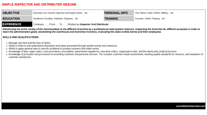 Inspector And Distributer Resume Template
