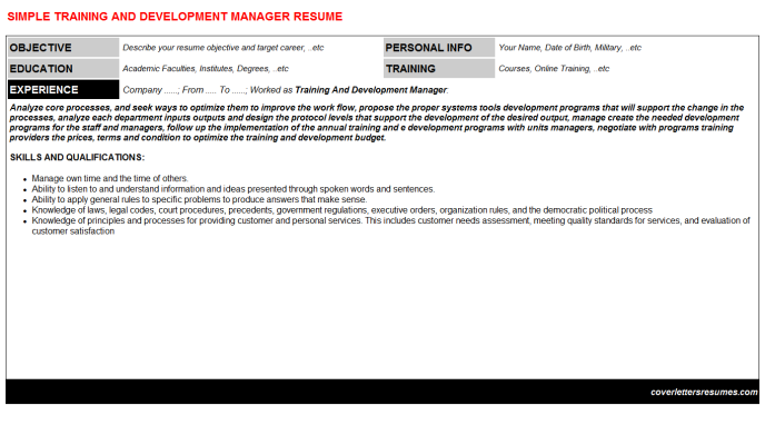 Training And Development Manager Resume Template