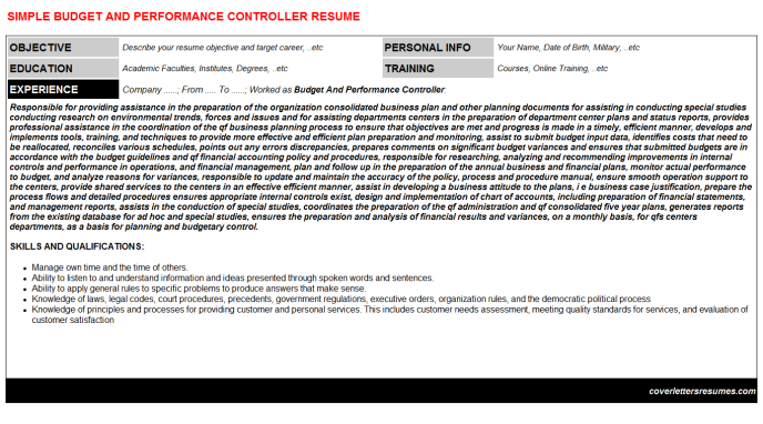 Budget And Performance Controller Resume Template (#7751)