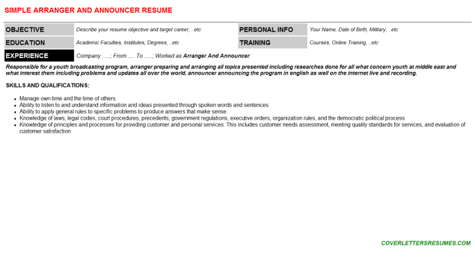 Arranger And Announcer Resume Template