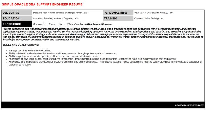 Oracle Dba Support Engineer Resume Template
