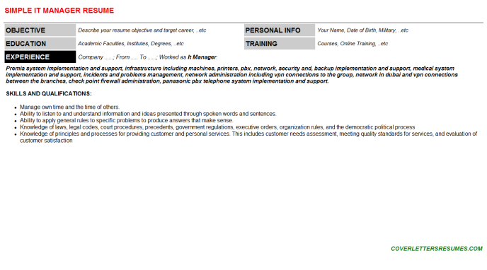 It Manager Resume Template (#40252)