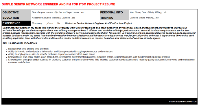 Senior Network Engineer And Pm For Itsm Project Resume Template (#30752)