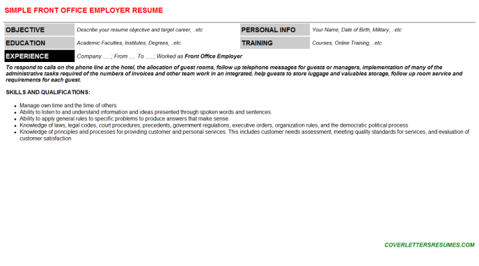 Front Office Employer Resume Template