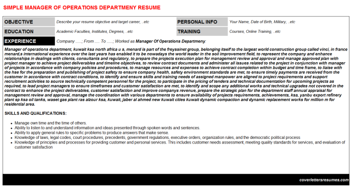 Manager Of Operations Departmeny Resume Template