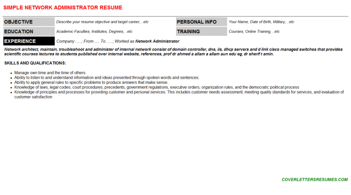 Network Administrator Resume Template (#11255)