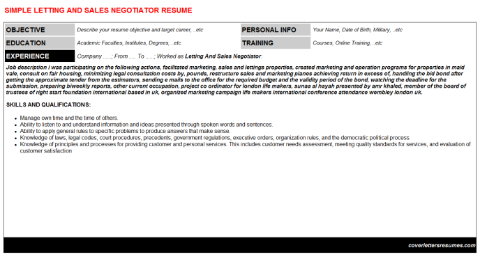Letting And Sales Negotiator CV Resume