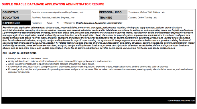 Oracle Database Application Administrator Resume Template (#2257)
