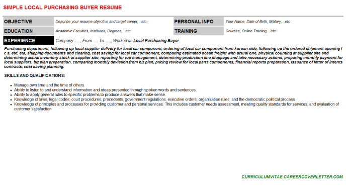 Local Purchasing Buyer Resume Template