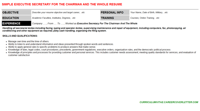 Executive Secretary For The Chairman And The Whole Resume Template (#104258)