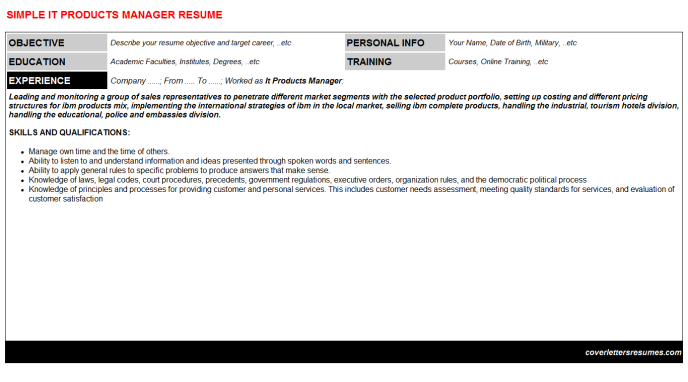 It Products Manager CV Resume