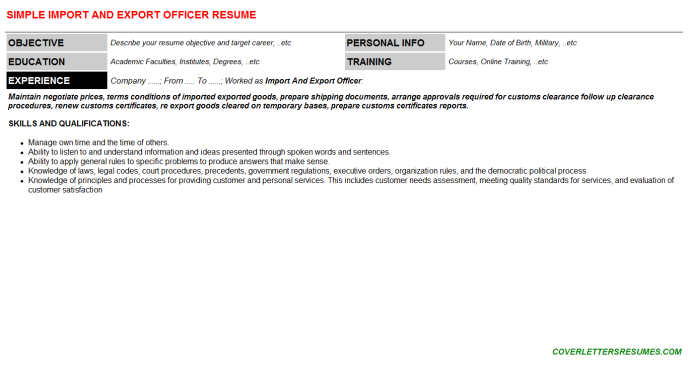 Import And Export Officer CV Resume