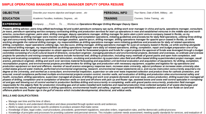 Operations Manager Drilling Deputy Opera Resume Template 33759