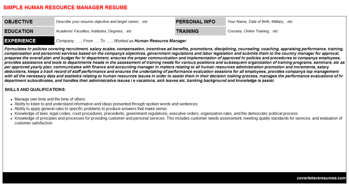 Human Resource Manager Resume
