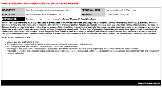 General Manager Of Retail Drug Store Resume Template