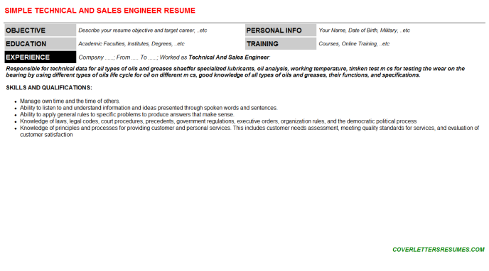 Technical And Sales Engineer Resume Template
