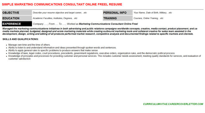 Marketing Communications Consultant Online Freel CV Cover ...