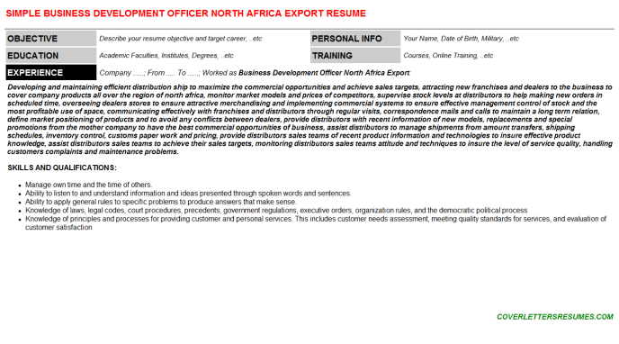 Business Development Officer North Africa Export Resume Template (#3764)