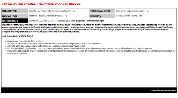 Marine Engineer Technical Manager Resume Template (#35765)