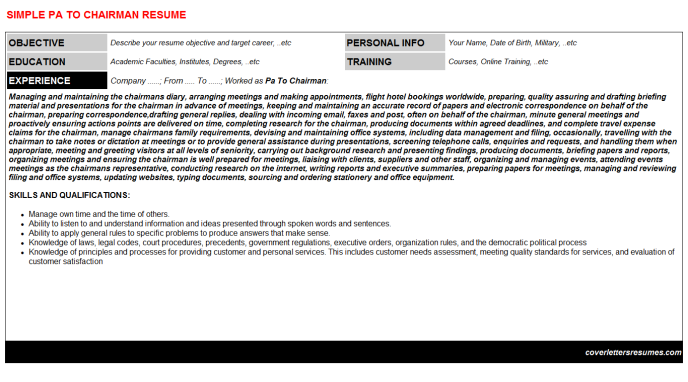 Pa To Chairman Resume Template (#50767)