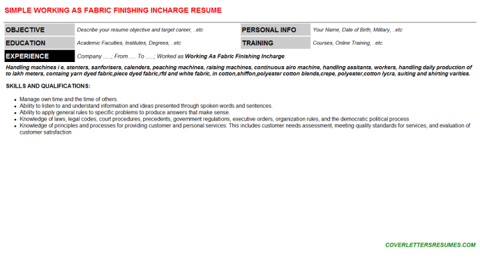 Working As Fabric Finishing Incharge Resume Template (#46767)
