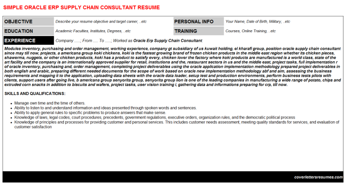 oracle erp supply chain consultant cv cover letter  u0026 resume template
