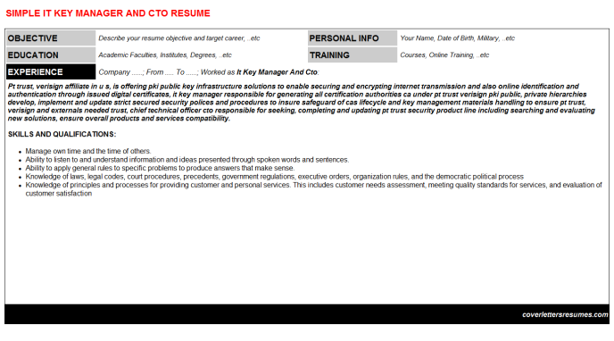 It Key Manager And Cto CV Resume