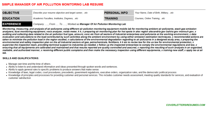 Manager Of Air Pollution Monitoring Lab Resume Template